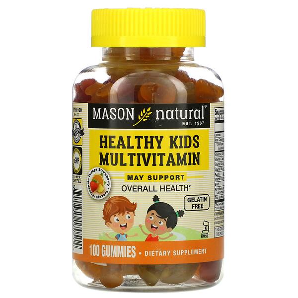 Mason Natural, فيتامينات متعددة صحية للأطفال، بنكهة الأناناس والبرتقال والفراولة، 100 علكة