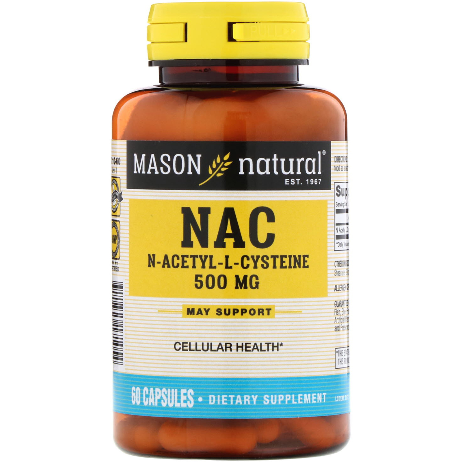 Mason Natural, NAC N-Acethyl-L-Cysteine, 500 mg, 60 Capsules - iHerb com