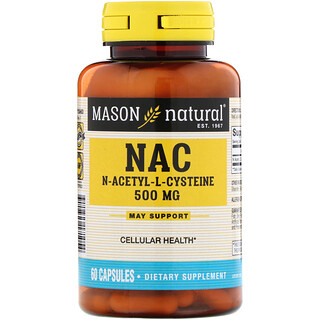 Mason Natural, NAC N-Acethyl-L-Cysteine, 500 mg, 60 Capsules