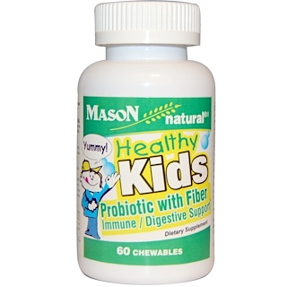 Mason Naturals, Healthy Kids Probiotic With Fiber, 60 Chewables