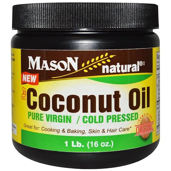 Mason Natural, Coconut Oil, Pure Virgin, Cold Pressed, 1 lb (16 oz) (Discontinued Item)