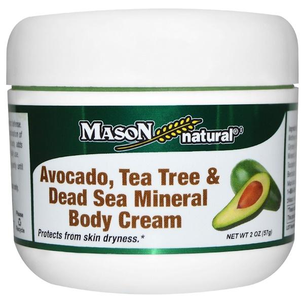 Mason Natural, Avocado, Tea Tree & Dead Sea Mineral Body Cream, 2 oz (57 g)