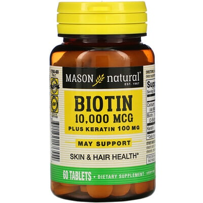 Купить Mason Natural Биотин с кератином, 10000мкг, 60таблеток