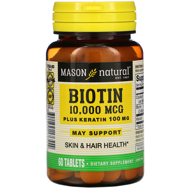 Biotin Plus Keratin, 10,000 mcg, 60 Tablets