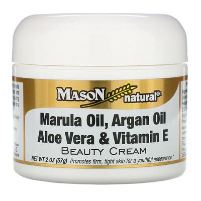 Mason Natural Marula Oil, Argan Oil, Aloe Vera & Vitamin E Beauty Cream, 2 oz (57 g)