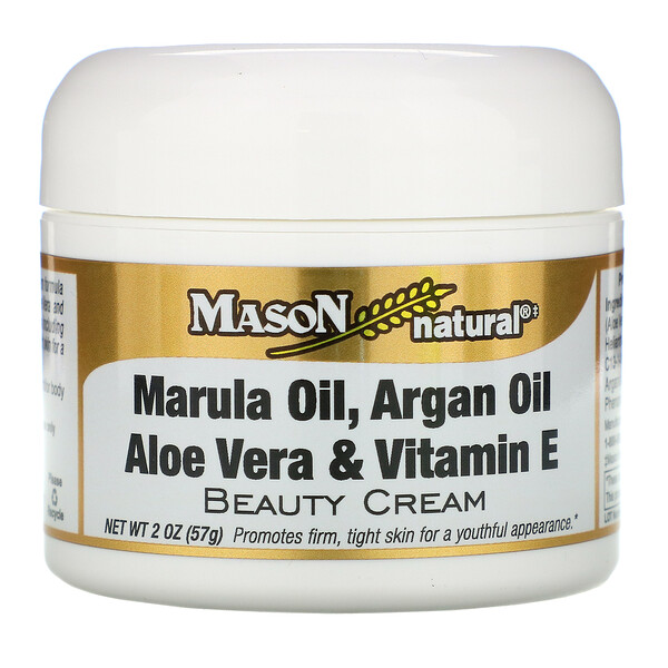 Mason Natural, Marula Oil, Argan Oil,  Aloe Vera & Vitamin E Beauty Cream, 2 oz (57 g)