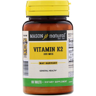 Mason Natural, Vitamin K2, 100 mcg, 100 Tablets