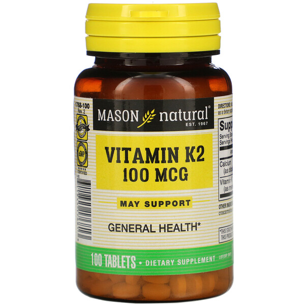 Mason Natural, Vitamin K2, 100 mcg, 100 Tablets