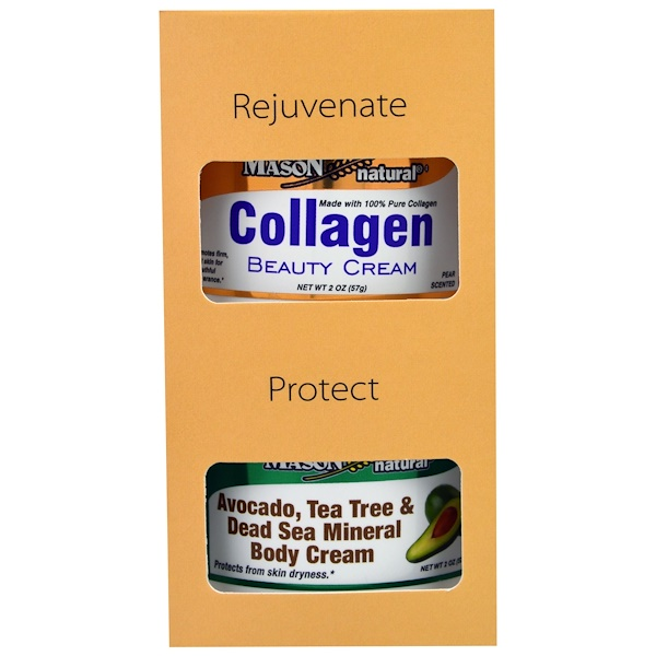Mason Natural, Avocado, Tea Tree & Dead Sea Mineral Body Cream + Collagen Beauty Cream, Pear Scented, 2 Jars, 2 oz (57 g) Each (Discontinued Item)
