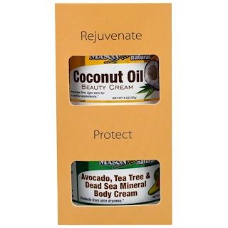 Mason Naturals, Avocado, Tea Tree & Dead Sea Mineral Body Cream + Coconut Oil Beauty Creams, 2 Jars, 2 oz (57 g) Each