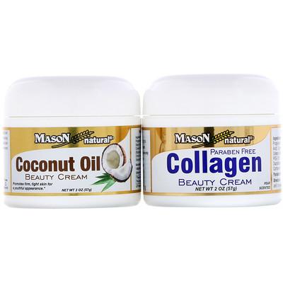 Купить Косметический крем с кокосовым маслом + косметический крем с коллагеном, 2 банки, весом 57 г (2 унции) каждая