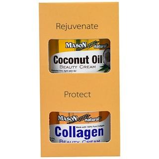 Mason Natural, Crema de belleza de aceite de coco + Crema de belleza de colágeno, 2 frascos, 2 oz (57 g) c/u