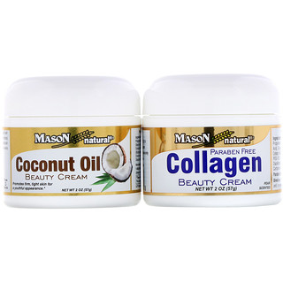 Mason Natural, Coconut Oil Beauty Cream + Collagen Beauty Cream, 2 Jars, 2 oz (57 g) Each