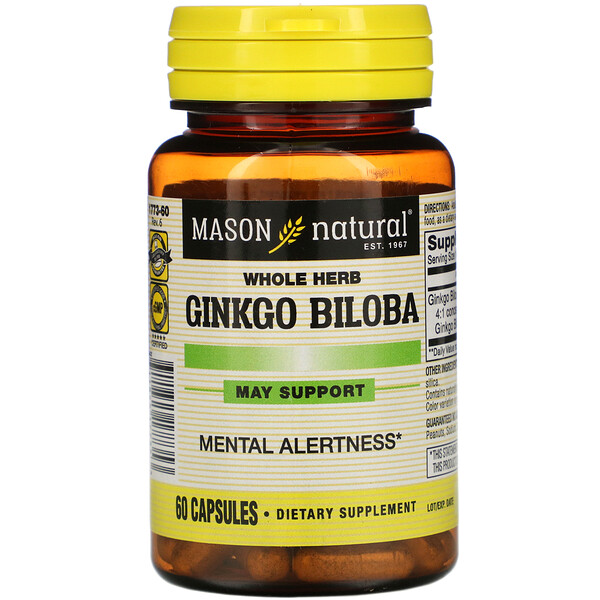 Mason Natural, Whole Herb Ginkgo Biloba, 60 Capsules