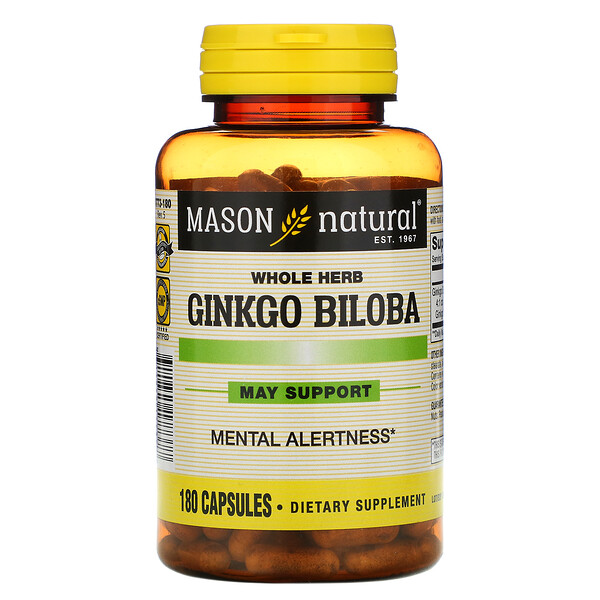 Mason Natural, Whole Herb Ginkgo Biloba, 180 Capsules