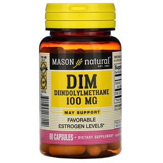 Mason Natural, DIM 二吲哚甲烷,100 毫克,60 粒膠囊