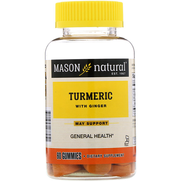 Mason Natural, Turmeric with Ginger, 60 Gummies