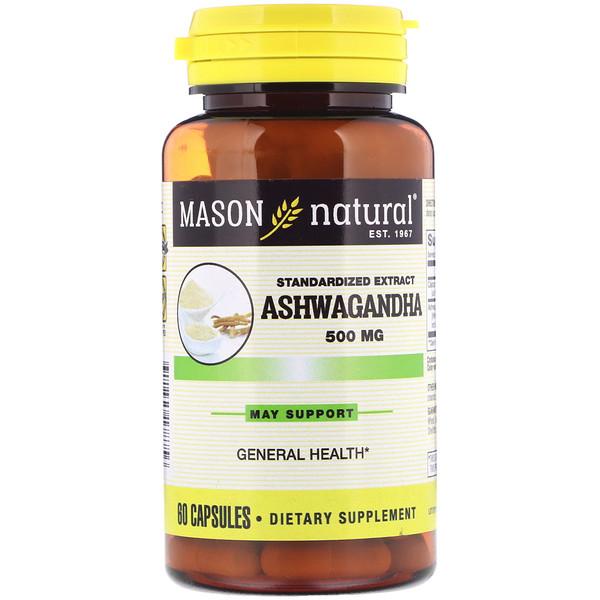 Mason Natural, Ashwagandha, Standardized Extract, 500 mg, 60 Capsules