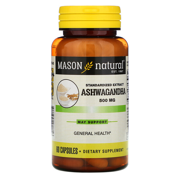 Mason Natural, Ashwagandha, Standardized Extract, 500 mg, 60 Capsules