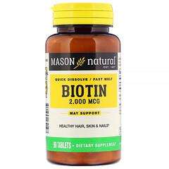 Mason Natural, Quick Dissolve, Fast Melt Biotin, 2,000 mcg, 90 Tablets