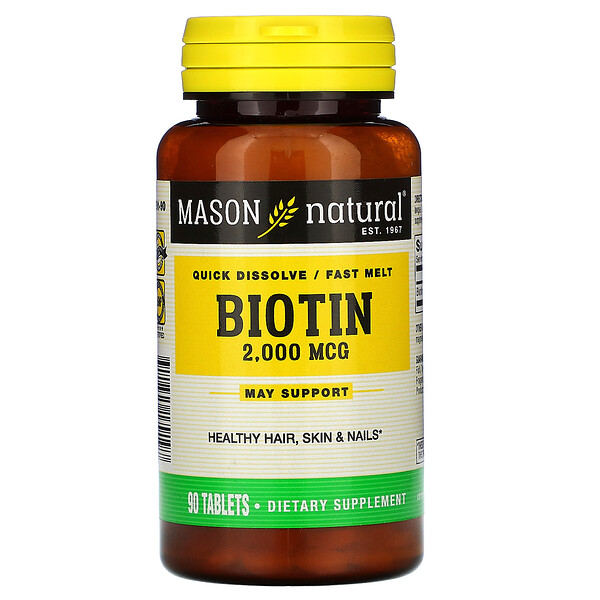 Mason Natural, Biotin, Quick Dissolve / Fast Melt, 2,000 mcg, 90 Tablets