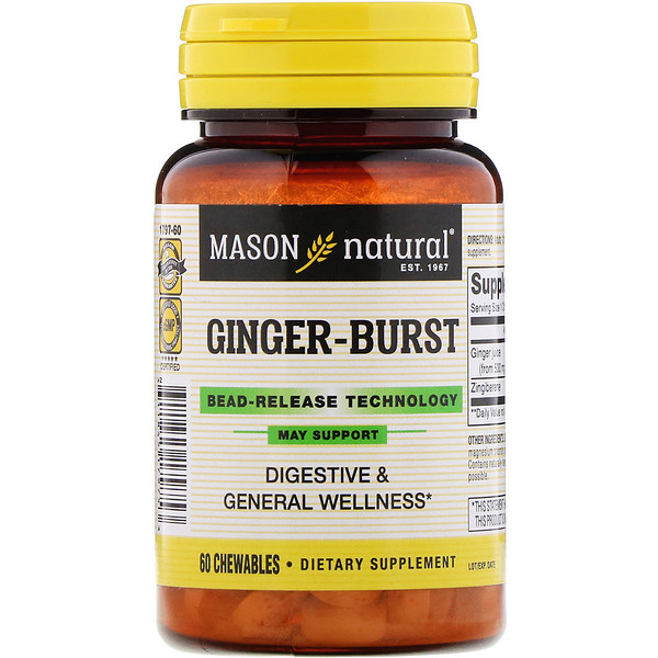 Mason Natural, Ginger-Burst, Bead- Release Technology, 60 Chewables