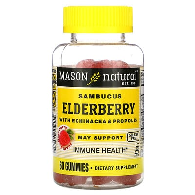Mason Natural Sambucus Elderberry with Echinacea & Propolis, Raspberry Flavor, 60 Gummies