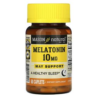 Mason Natural, ميلاتونين، 10 ملجم، 60 قرص مغلف