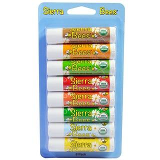 Sierra Bees, مرطبات شفاه عضوية، حزمة متنوعة، 8 حزم