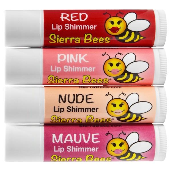 Sierra Bees, 발색 쉬머 립밤, 4가지 색 팩키지 (Discontinued Item)