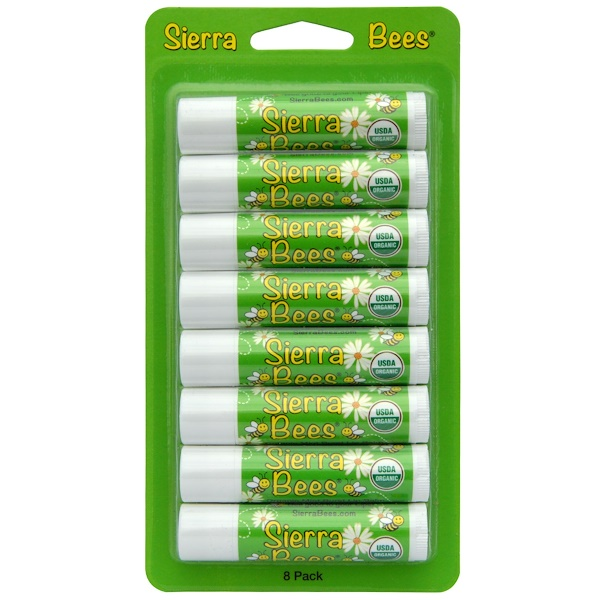 Sierra Bees, Organic Lip Balms, Mint Burst, 8 Pack, .15 oz (4.25 g) Each (Discontinued Item)