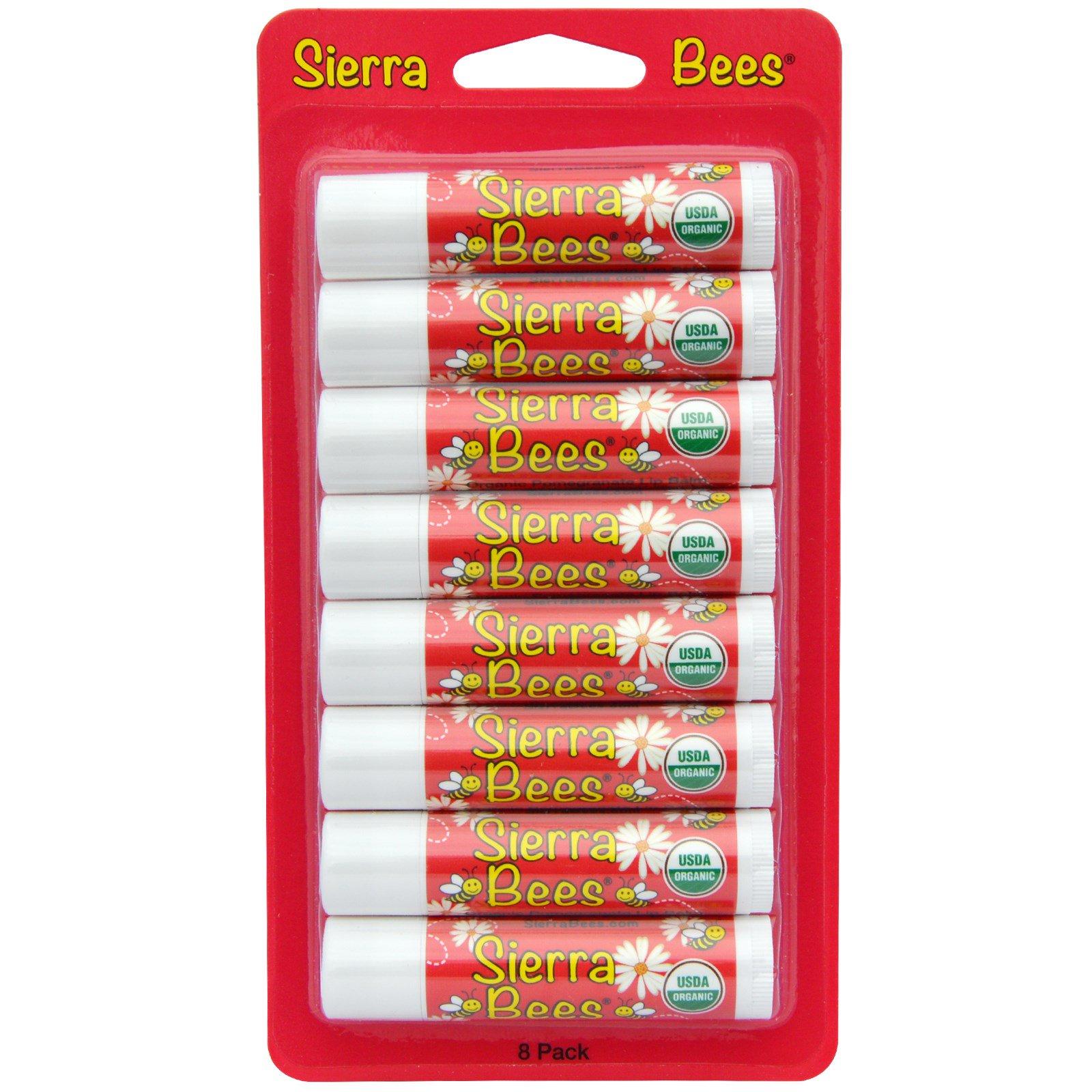 Sierra Bees, Органические бальзамы для губ, Гранат, 8 штук, каждый по 0,15 унции (4,25 г)