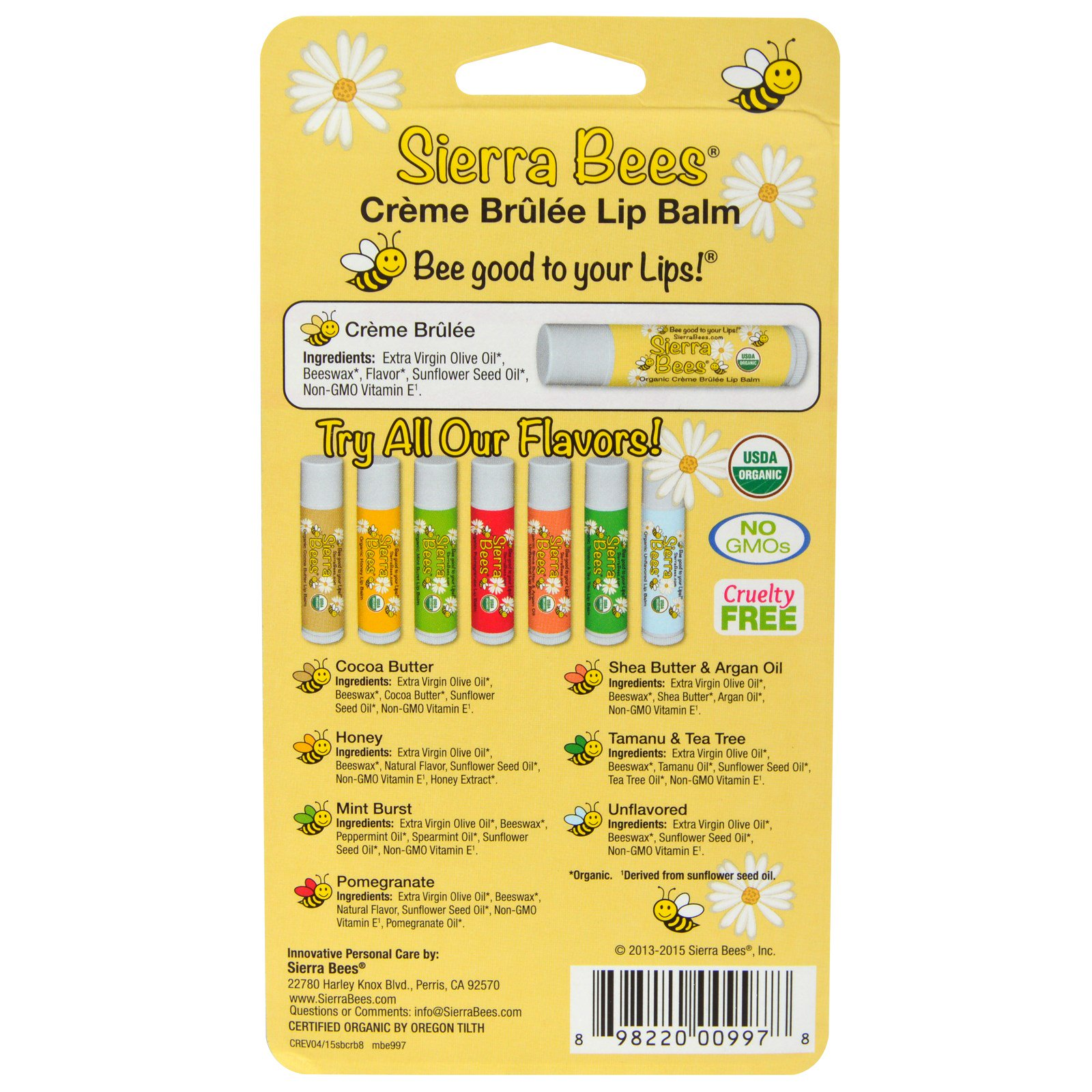 Sierra Bees, Organic Lip Balms, Variety Pack, 8 Pack, 0.15 Oz Each TOMATO PIE 120G Soften Whitening Brightening Moisturizing Treatment Hand Mask