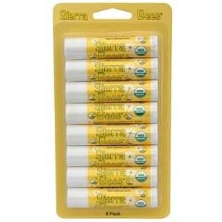 Sierra Bees, Органические бальзамы для губ, крем-брюле, 8 штук, каждый по 0,15 унции (4,25 г)