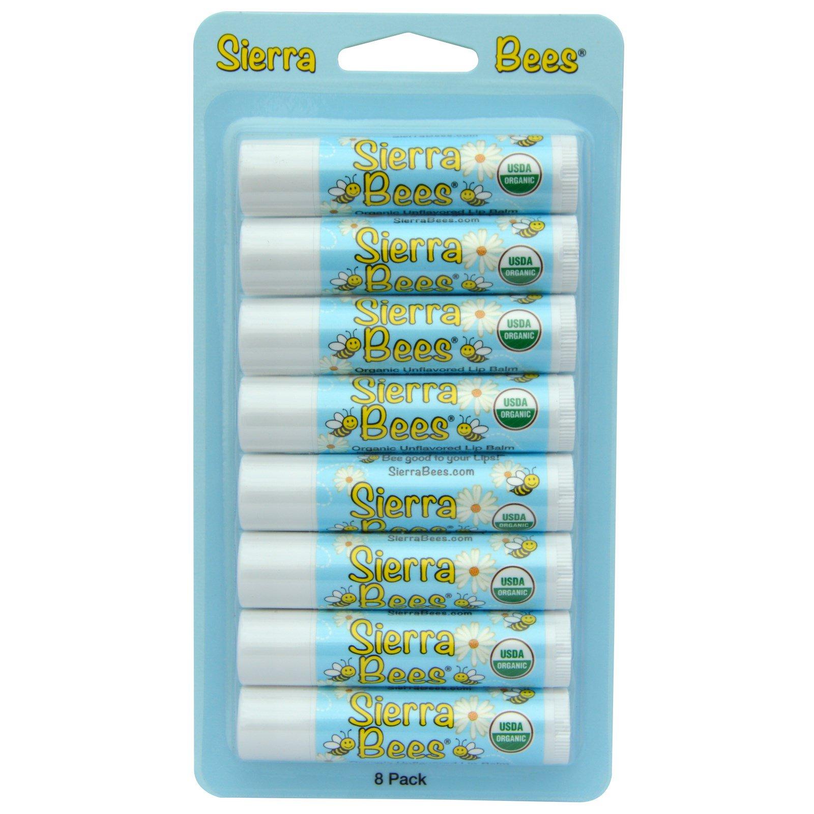 Sierra Bees, Органические бальзамы для губ, без ароматизаторов, 8 штук, каждый по 0,15 унции (4,25 г)