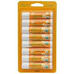 Sierra Bees, Organic Lip Balms, Honey, 8 Pack, .15 oz (4.25 g) Each