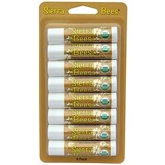 Sierra Bees, 오가닉 립 밤, 코코아버터, 8 팩, 각각 .15 온스 (4.25 그램)