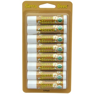 Sierra Bees, オーガニック・リップクリーム、ココアバター、8本入り、各 .15 oz (4.25 g)