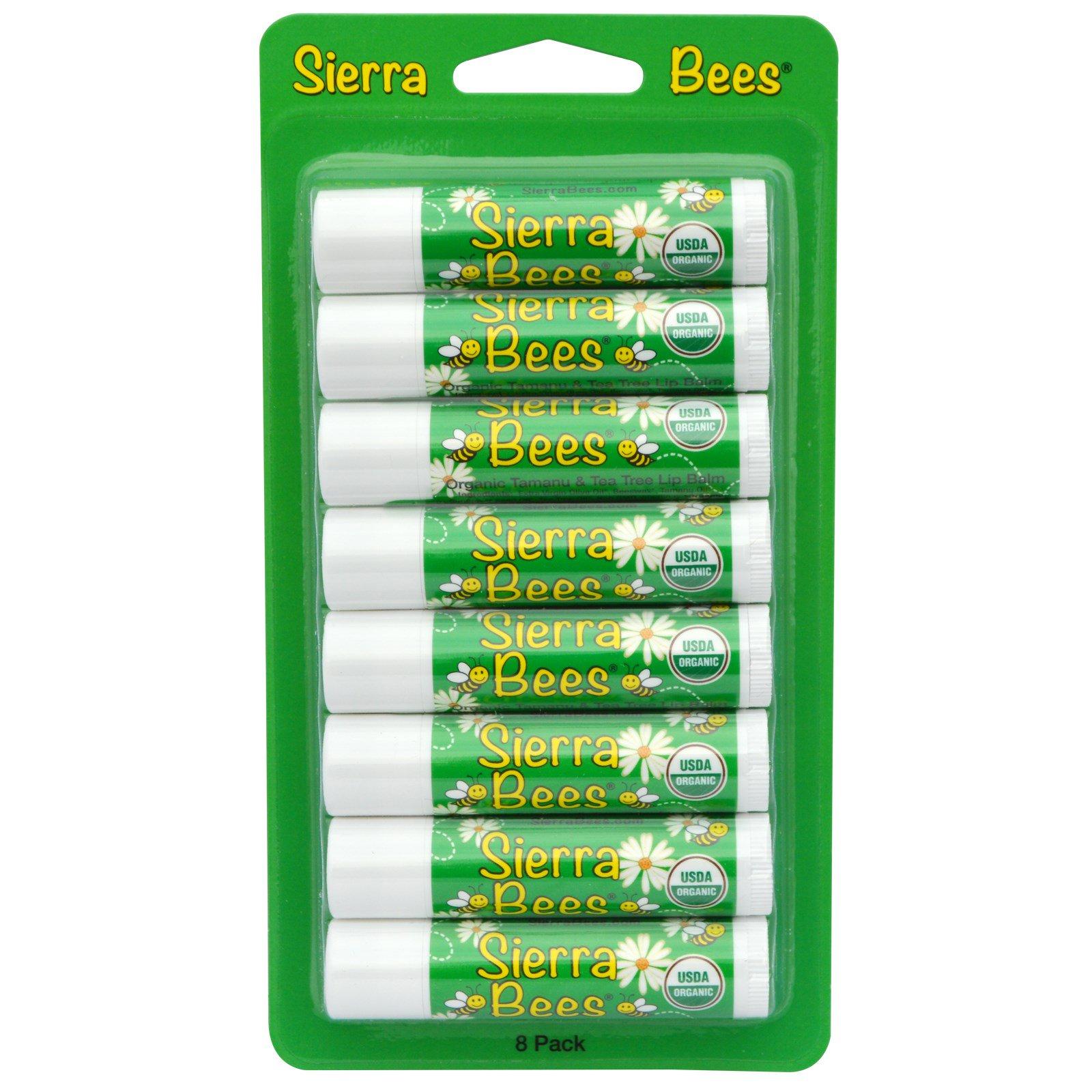 Sierra Bees, Органические бальзамы для губ, Таману и масло чайного дерева, 8 штук, каждый по 0,15 унции (4,25 г)