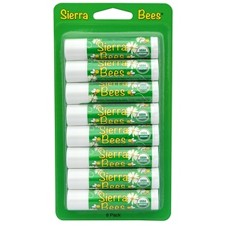 Sierra Bees, オーガニック・リップクリーム、タマヌ&ティーツリー、8本入り、各 .15 oz (4.25 g)