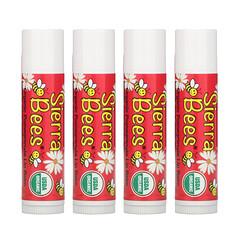 Sierra Bees, 有機潤唇膏,石榴,4 支,每支 0.15 盎司(4.25 克)