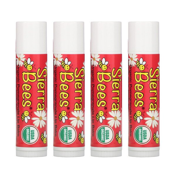 Organic Lip Balms, Pomegranate, 4 Pack, .15 oz (4.25 g) Each