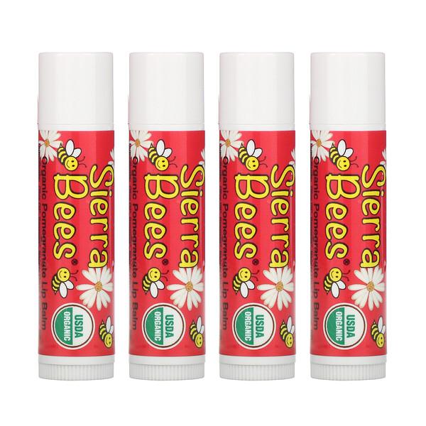 Sierra Bees, Bálsamos orgánicos para labios, Granada, Pack de 4bálsamos, 4,25g (0,15oz) cada uno