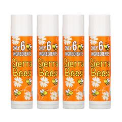 Sierra Bees, 有機潤唇膏,蜜柑洋甘菊,4 支,每支 0.15 盎司(4.25 克)