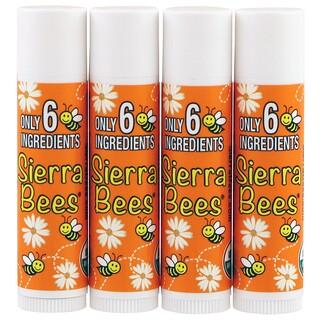 Sierra Bees, オーガニックリップバーム、タンジェリンカモミール、4パック、0.15オンス(4.25g)