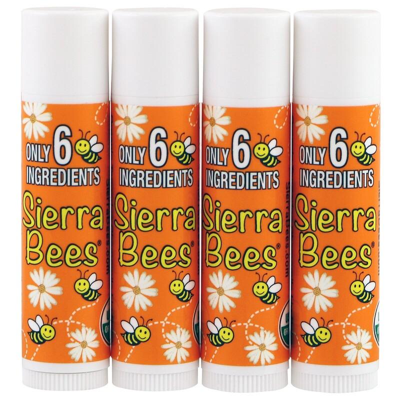 Organic Lip Balms, Tangerine Chamomile, 4 Pack, .15 oz (4.25 g) Each