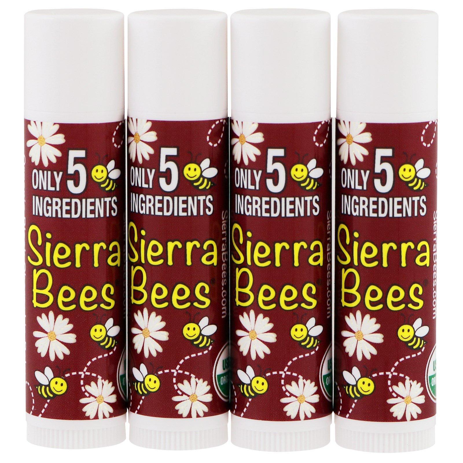 Sierra Bees, Органический бальзам для губ, Черная вишня, 4 штуки, 4,25 г (0,15 унции)
