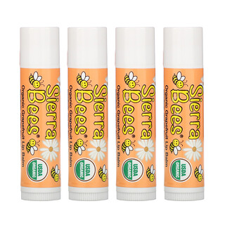 Sierra Bees, Organic Lip Balms, Grapefruit, 4 Pack, .15 oz (4.25 g) Each