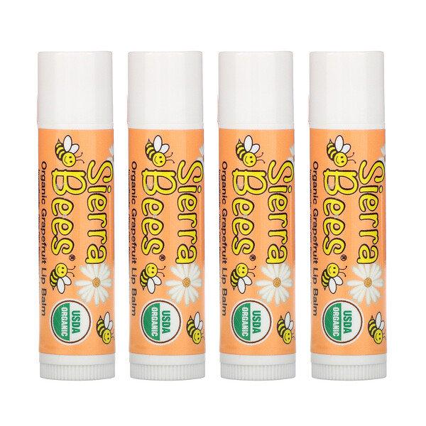 Organic Lip Balms, Grapefruit, 4 Pack, .15 oz (4.25 g) Each