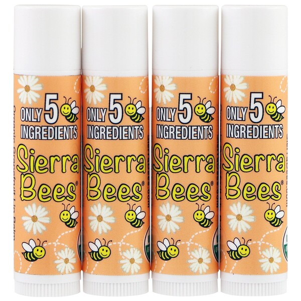 Sierra Bees, Organic Lip Balms, Grapefruit, 4 Pack, .15 oz (4.25 g) Each